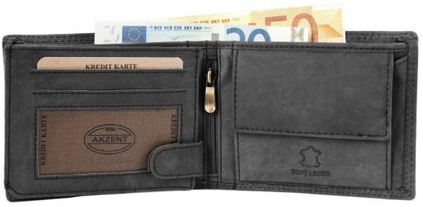 Akzent Herren Geldbörse aus Echtleder. Format 12 x 10 cm.