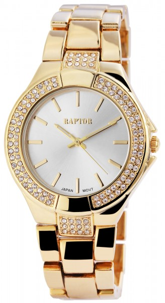 Raptor Damen-Uhr Metall Armband Strass-Steine Analog Quarz RA10141