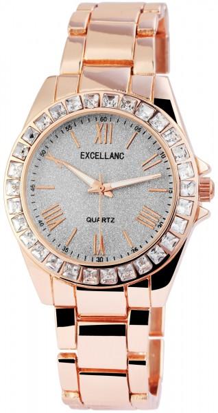 Excellanc Damen – Uhr Metall Gliederarmband Leuchtzeiger Analog Quarz 1800131