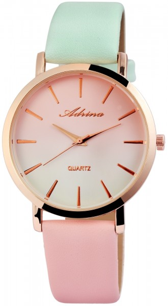 Adrina Damen-Uhr Lederimitat Dornschließe Mehrfarbig Elegant Analog Quarz 1900138