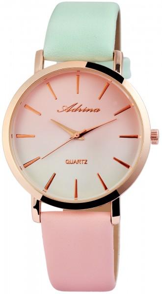 Adrina Damen-Uhr Lederimitat Donschließe Mehrfarbig Elegant Analog Quarz 1900138