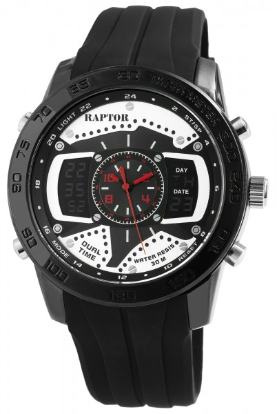Raptor Herren-Uhr Silikonarmband Analog Digital Anzeige Quarzwerk RA20002