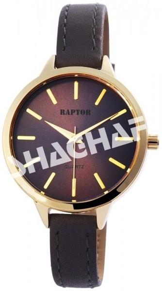 Raptor Damen-Uhr schmales Armband Oberseite Echtleder Analog Quarz RA10024