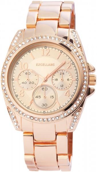 Excellanc Damen – Uhr Metall Armbanduhr Faltschließe Analog Quarz 1800117