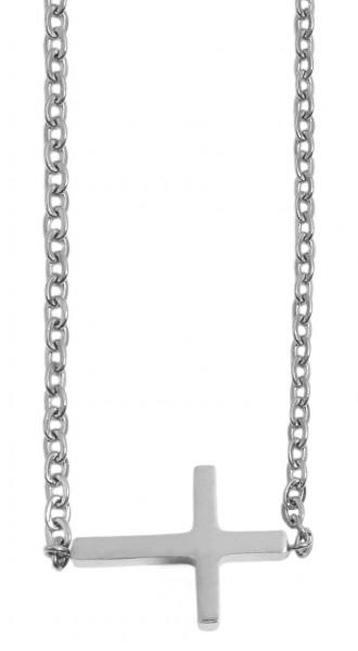 Akzent Damen - Halskette Kreuz Anhänger Edelstahl Ankerkette 43+5cm 5010261