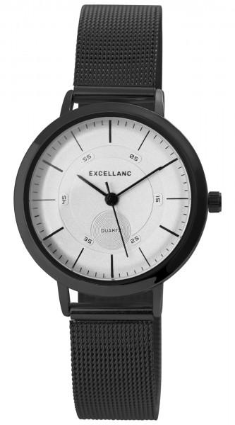 Excellanc Damen-Uhr Milanaisearmband Edelstahl Hakenverschluss Quarz Analog 1300028