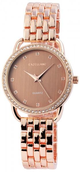 Excellanc Damen-Uhr Metallarmband Clipverschluss Strass-Steine Analog Quarz 1800072