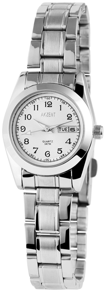 Akzent Damen - Uhr Edelstahl Armbanduhr Datum Analog Quarz 1800005