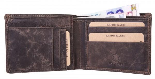 Akzent Herren - Geldbörse Leder Portemonnaie RFID Vintage Quer 11,5x9 cm 3000254