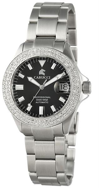 Carucci Automatik Damenuhr, Edelstahl, Ø 39 mm, Silber Schwarz - CA2200ST-BK