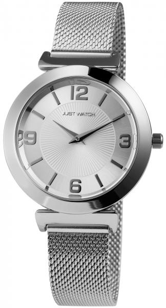 Just Watch Damenuhr mit Edelstahlmeshband Hakenverschluss Quarz Rund Armbandlänge 19cm 3 BAR