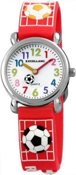 Excellanc Kinder – Uhr Silikonarmband Fußball Sport Dornschließe Analog Quarz 4500027