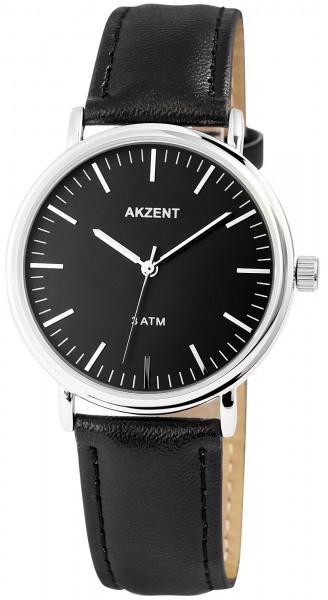 Akzent Herren - Uhr Lederimitations Armbanduhr Elegant Analog Quarz 2900052