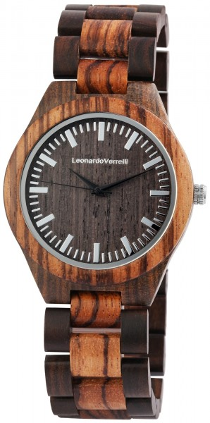 Leonardo Verrelli Herren - Uhr aus Holz Analog Quarz 2800038