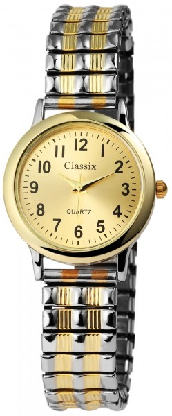 Classix Damenuhr Weiß Silber Gold Zugband Zugarmband Metall Armbanduhr…