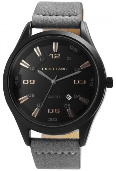 Excellanc Herren-Uhr Lederimitat Dornschließe Datum Analog Quarz 2900177