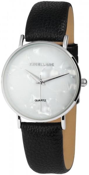 Excellanc Damen - Uhr Lederimitations Armband Marmor Optik Analog Quarz 1900049