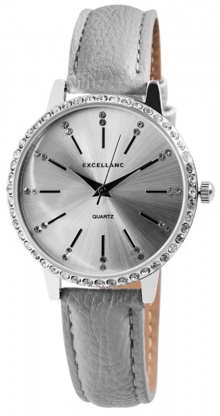 Excellanc Damen-Uhr Lederimitat Dornschließe Strass Analog Quarz 1900078