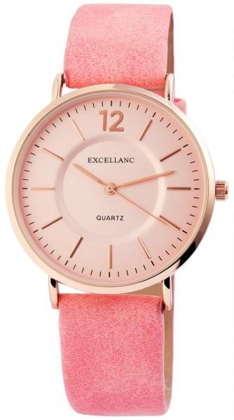 Excellanc Damen-Uhr Lederitationsarmband Dornschließe Analog Quarz 2910008