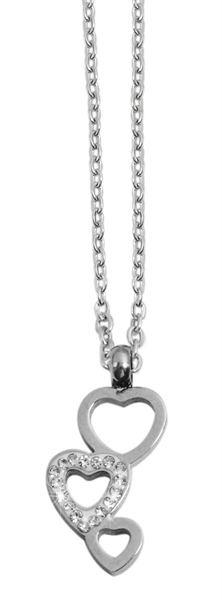 Akzent Damen - Halskette Herz Anhänger Edelstahl Ankerkette 43+5cm 5010275