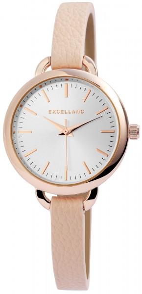 Excellanc Damen-Uhr Lederimitat Dornschließe Rund Analog Quarz 1900158