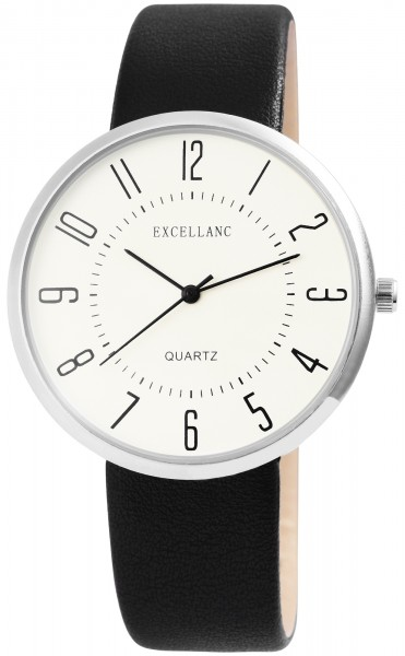 Excellanc Herren-Uhr Lederimitat Dornschließe Analog Quarz 2900105