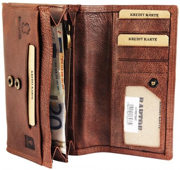Raptor Damen Geldbörse aus Echtleder. Format 17 x 9 cm.