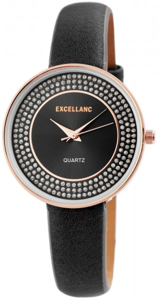 Excellanc Damen-Uhr Lederimitat Strass Dornschließe Analog Quarz 1900163