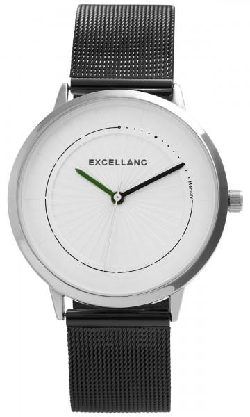 Excellanc Herren-Uhr Meshband Edelstahl Hakenverschluss Analog Quarz 2300011