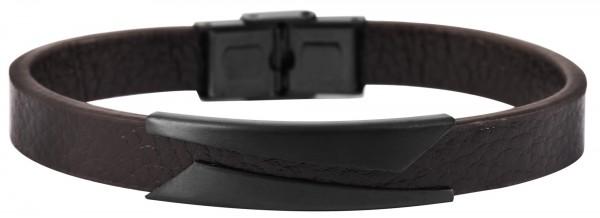 Akzent Unisex - Armband aus Echtleder mit Edelstahl Länge 21,5 cm 5040099