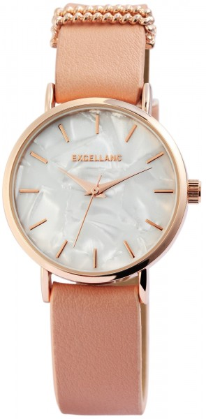 Excellanc Damen-Uhr Lederimitat Dornschließe Analog Quarz 1900153