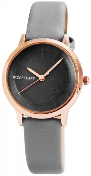 Excellanc Damen-Uhr Lederimitat Dornschließe Rund Analog Quarz 1900169