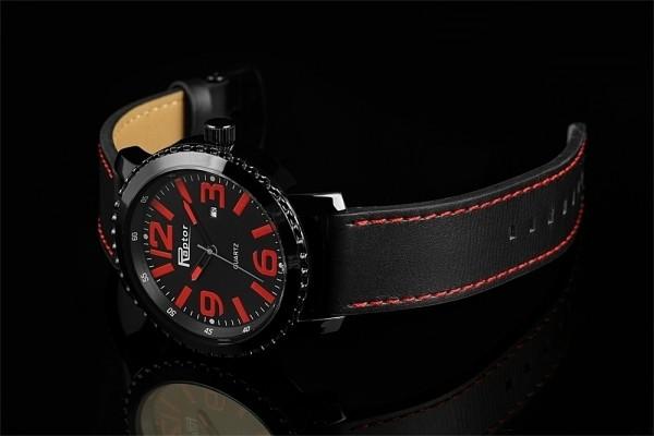 Raptor Herren-Uhr Oberseite Leder Dornschließe Datum Analog Quarz RA20140