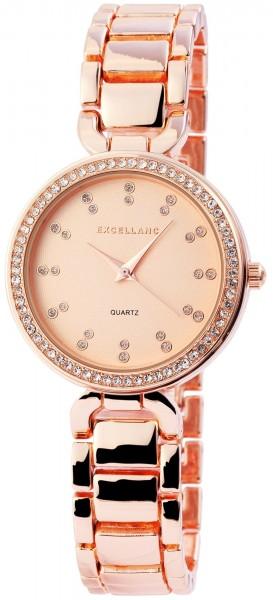 Excellanc Damen-Uhr Metallarmband Clipverschluss Strass Analog Quarz 1800088