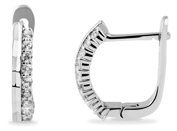 Giulia Luna Damen–Ohrringe 925er Silber rhodiniert Creolen Strass GL5200079