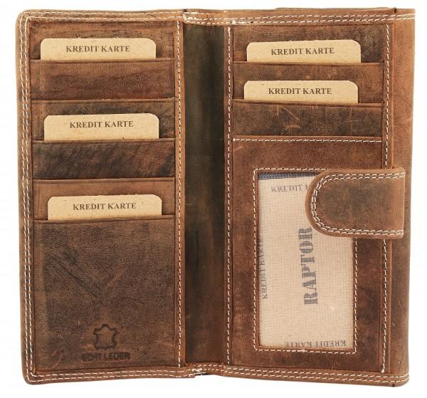 Raptor Damen Geldbörse aus Echtleder. Format 18 x 10 cm.