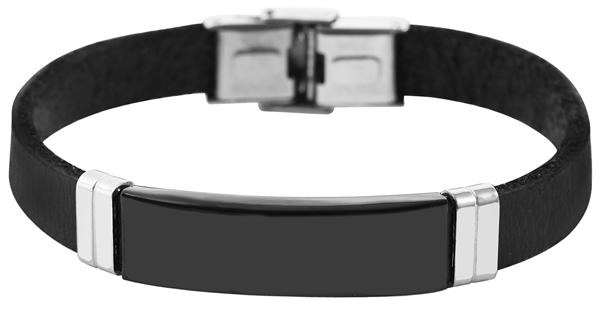 Akzent Unisex-Armband Gravur Edelstahl Echt Leder 5040231