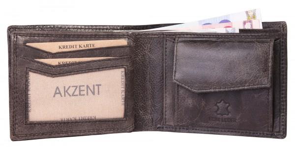 Akzent Herren - Geldbörse Leder Portemonnaie RFID Vintage Quer 11x9 cm 3000259