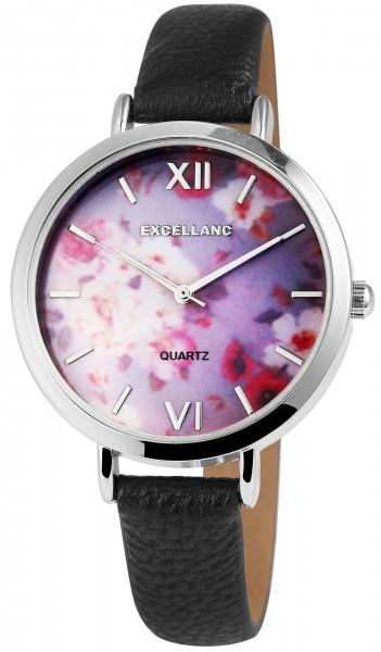 Excellanc Damen-Uhr Lederimitat Armband Blumen Floral Analog Quarz 1900094