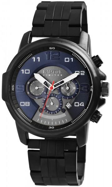 Raptor Limited Herren-Uhr Edelstahl Chronograph Leuchtzeiger Analog Quarz RA20280