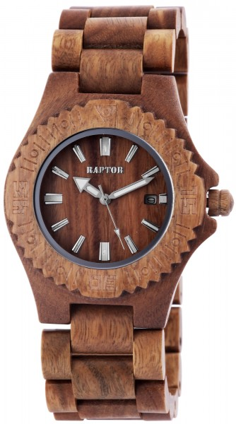 Raptor Damen - Holzuhr Holz Armbanduhr Strichindex Analog Quarz RA20208