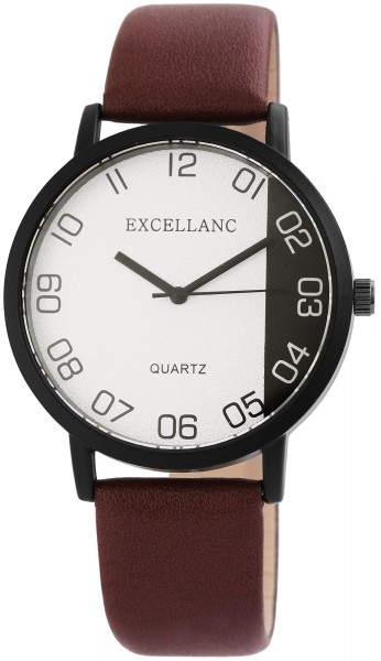 Excellanc Herren – Uhr Lederimitat Armbanduhr Dornschließe Analog Quarz 2910007