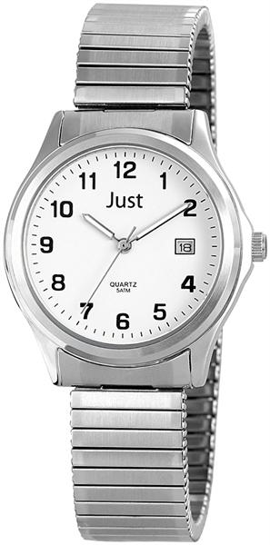 Just Analog Herrenuhr, Edelstahl, Ø 37 mm, Silber Weiß - 48-S2308-WH