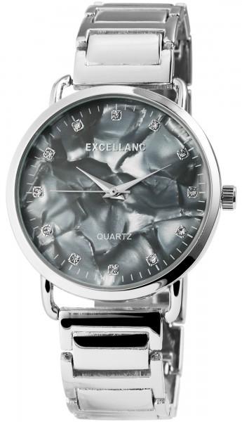 Excellanc Damen-Uhr Metallarmband Perlmutt Cliperschluss Analog Quarz 1800076