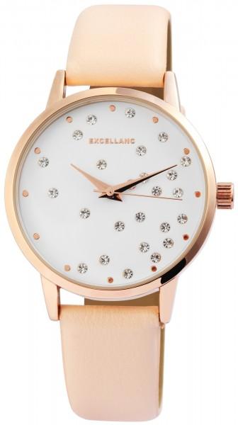 Excellanc Damen – Uhr Lederimitat Armbanduhr Strass Analog Quarz 1900173