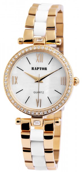 Raptor Damen - Uhr Edelstahl Armband mit Strassbesatz Analog Quarz RA10136