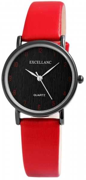 Excellanc Damen – Uhr Lederimitationsarmband Analog Quarz 1900192