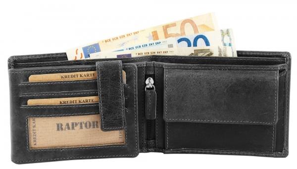 Raptor Herren - Geldbörse Echt Leder Portemonnaie Brieftasche 12x10 cm RA40028