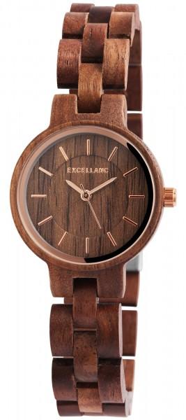 Excellanc Damen - Uhr Holzarmband Holzuhr Armbanduhr Faltschließe Quarz 1800194