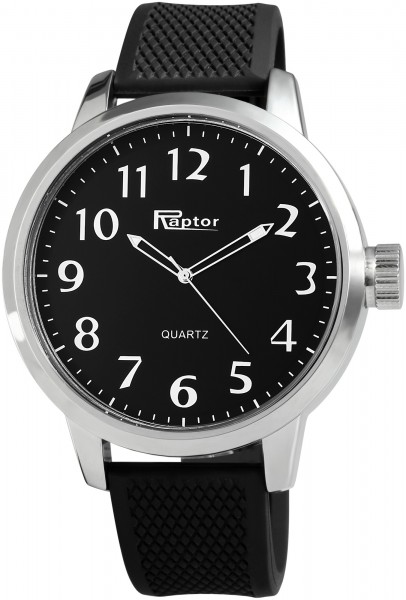 Raptor Herren-Uhr Silikonarmband Dornschließe Analog Quarz RA20057
